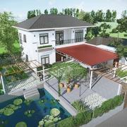 Thiết kế nhà mái nhật 2 tầng 4 phòng ngủ