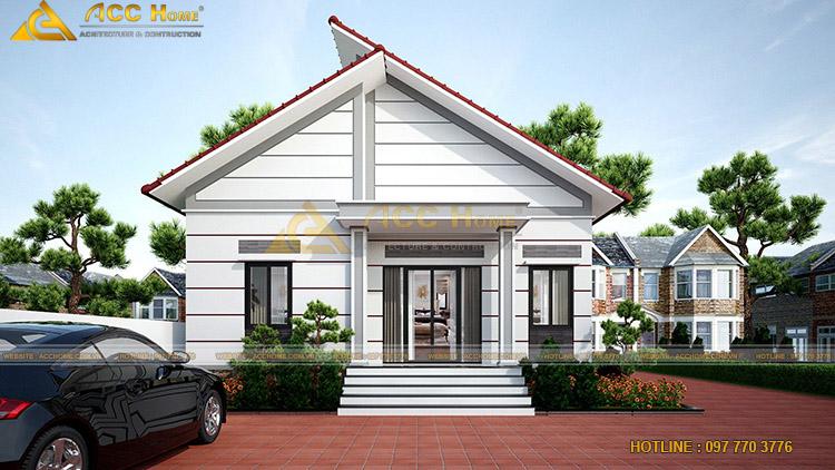 Phối màu nhà mái thái 1 tầng