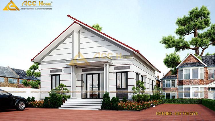 Phối cảnh nhà 1 tầng mái Thái
