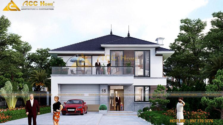 thiết kế nhà mái nhật 2 tầng