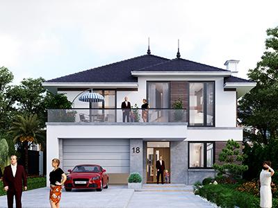 Thiết kế nhà 2 tầng mái nhật Hiện Đại
