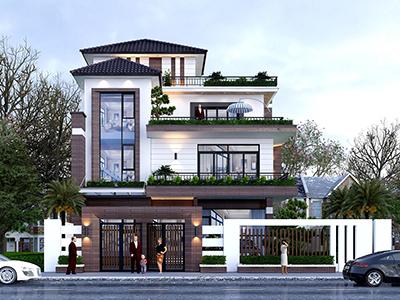 nhà mái Nhật 3 tầng