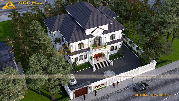Phối cảnh hệ mái của căn nhà